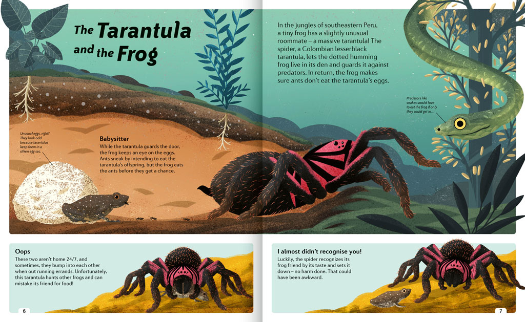 Book pages about the Tarantula and the Frog