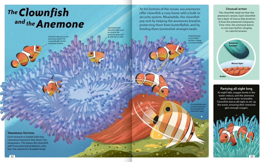 Book pages about the Clownfish and the Anemone